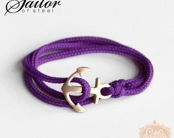 SAILOR of steel - purple wrap bracelet anchor stainless steel roségold style