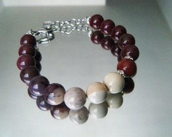 Mookaite jewelry Mookaite bracelet Gemstone bracelet Marsala bracelet OOAK bracelet Marsala jewelry Gift for her