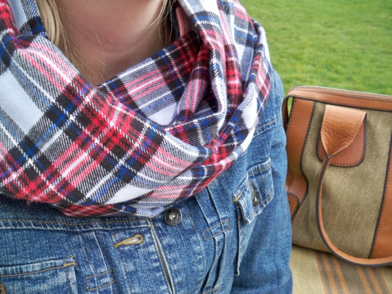 Red And Blue Plaid Infinity Scarf Flannel Scarf Flannel