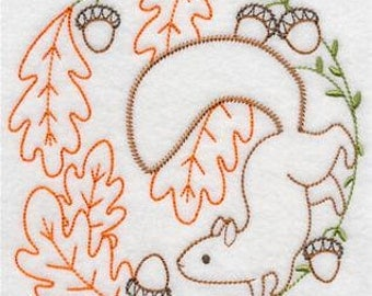 Squirrel and acorns Embroidered Flour sack towel pair Great Gift!