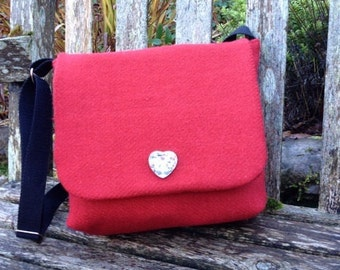 Red Harris Tweed Bag