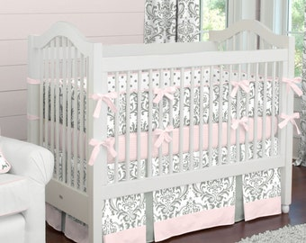 Girl Baby Crib Bedding: Pink and Gray Traditions Damask 3-Piece Crib Bedding Set by Carousel Designs
