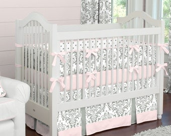 Girl Baby Crib Bedding: Pink and Gray Traditions Damask Crib Bedding - Fabric Swatches Only