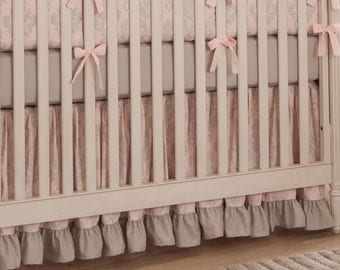 "Girl Baby Crib Bedding: Paris Script Crib Skirt - 14"" or 20"" by Carousel Designs"