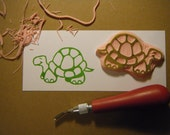 Happy Turtle Hand Carved Rubber Stamp