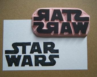 Star Wars Logo Hand Carved Rubber Stamp