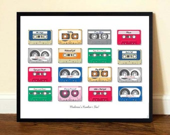 A3 Personalised Retro Play List Cassette Print