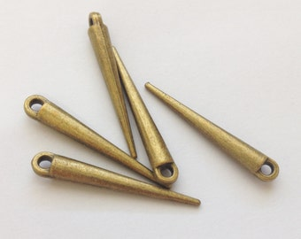 Antique Bronze Spike Charms 11 Pieces