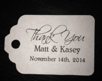 PERSONALIZED Thank You Wedding Favor Gift Tags White Ivory
