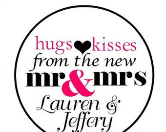 108 324 648 PERSONALIZED Wedding Candy Kiss Favor Labels Hugs Kisses Mr Mrs