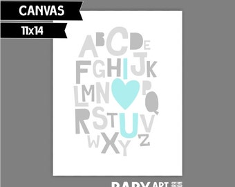 Nursery art print Alphabet, I love You,  11x14 ( 4PTGG )