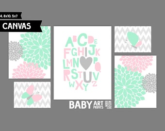 Mint and Pink Baby Girl Nursery canvas art prints, Set of 5, Alphabet, I love You, Abstracts, Butterfly ( MS110 )
