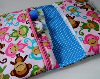Baby Girl Diaper Bag | Monkey Diaper Bag | Diaper Bag Organizer | Compact Diaper Bag | Diaper Changing Clutch | Small Diaper Bag | Nappy Bag