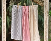 Tea Towel - Individual Striped Ticking Towel - Select Red, Blue, or Tan - 100% Cotton