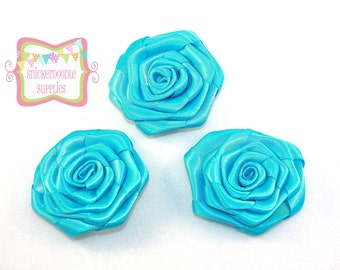 Turquoise Satin Rolled Rosette 3 Pieces #D120