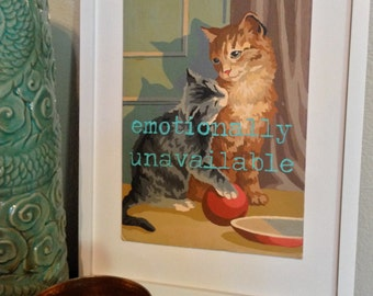 8x10 Print of Vintage Paint By Number PBN Unavailable Cat