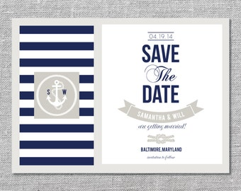 Nautical Save the Date | DIY Printable or Printed | 5x7