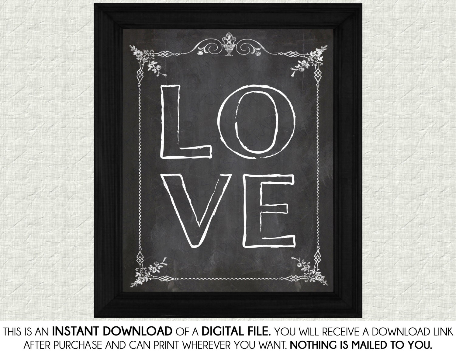 Love Chalkboard Home Decor Print Art Home Decor Wall Art
