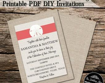 "5"" x 7"" Coral Sand Dollar On Burlap Beach Printable DIY Wedding Invitation PDF With Editable Text"