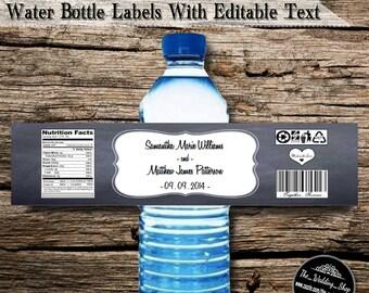 """Instant Download- Chalkboard Wedding DIY Printable PDF Bottle Labels (5 Labels Per 8.5"""" x 11"""" Sheet)"""