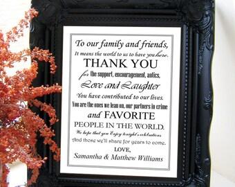 "Instant Download - DIY Printable Jpeg & PDF 8"" x 10"" Modern White Wedding Sign: Thank You"