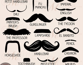 MUSTACHE STYLES Clipart Design Elements, Instant Download, Mustaches Clip Art Theme Black Silhouette