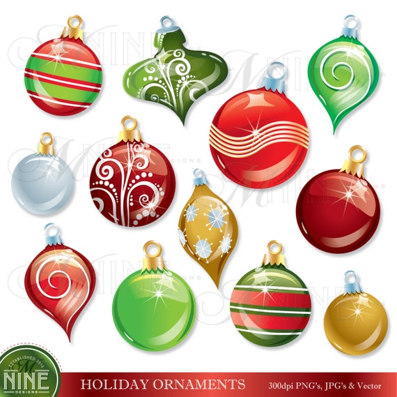 HOLIDAY Clipart CHRISTMAS ORNAMENTS Clip Art by MNINEDESIGNS