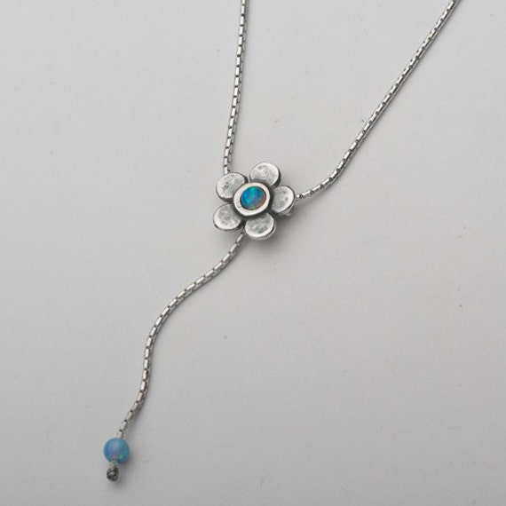 sterling silver y flower necklace adorned by