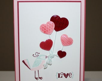 Bird holding balloons Love You Valentine's Day card made with Stampin'UP! products
