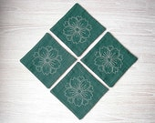 set of 4 embroidered coasters - dark green mug rugs - drink placemats - tableware table linen - unique housewarming gift for Mother's Day