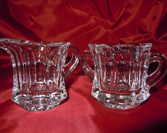 Small Cut Lead Crystal Sugar and Creamer Set