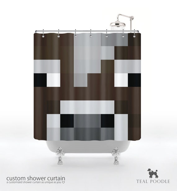 Minecraft Inspired Cow Shower Curtain Geekster by TealPoodle