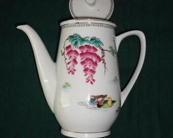 Tall Vintage Porcelain Tea Pot with Lid.