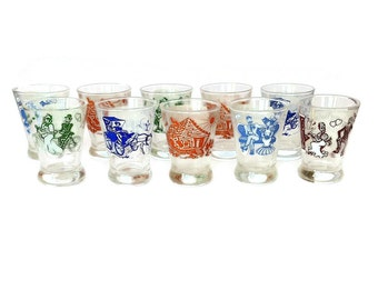 SALE! Rare Hazel Atlas, Melody Series, Vintage Whiskey, Double Shot Glasses, 1950s, S/10