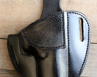 Custom Leather Holster for Glock 17,22,31 with LIZARD by TIN BADGE Leather