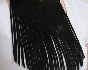 Long black leather fringe necklace