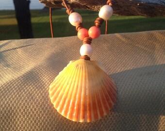 Yellow/Orange Scallop seashell necklace