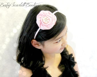 Pink Rosette Flower Toddler Hard Headband,Girl Hard Headband