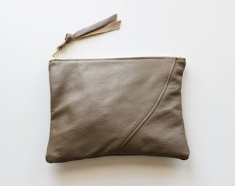 Repurposed Leather 8 Inch Everyday Zipper Pouch / Drab Olive