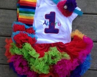 Rainbow bright birthday outfit - 1st birthday shirt and headband - rainbow leg warmers and headband