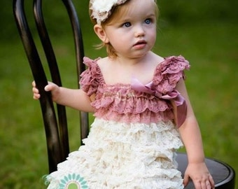Cream and mauve lace petti dress - vintage lace dress - flower girl dress - cream flower girl dress - cream lace petti dress