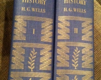"SALE* 1949 Vintage Books, ""The Outline of History""  by H.G. Wells Complete Set Two Volumes"
