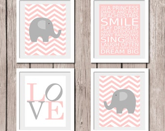 "INSTANT DOWNLOAD - PINK Set of 4 Prints Elephant You Are A Princess Printable Wall Art Print 8""x10"" (jpeg file) Kids Decor"