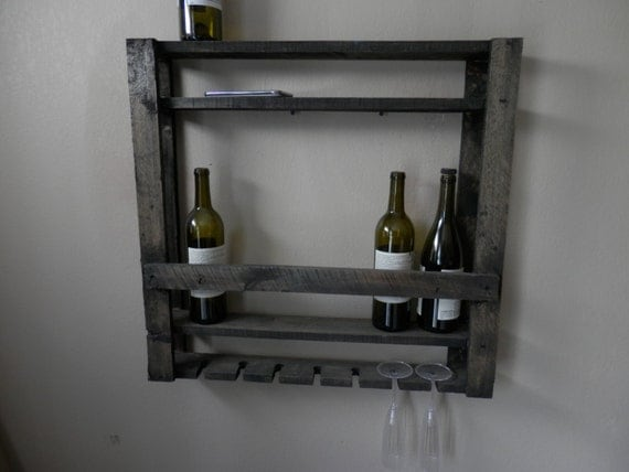 rustic pallet wall mounted wood wine bar bottle by. Black Bedroom Furniture Sets. Home Design Ideas