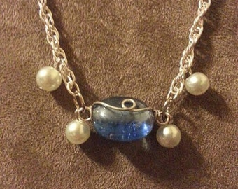 Blue Wire Wrapped with Pearls