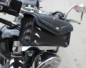 Custom Motorcycle Tool-Bag, Motorcycle Handlebar Pouch, Motorcycle Fork Bag, Sissy Bar Bag, Hand-stitched Leather, Motorcycle Accessories