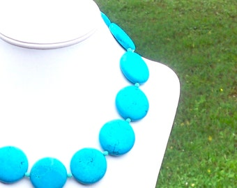 TURQUOISE Necklace 30mm Aqua BLUE Turquoise Gemstone Thick Coin Beaded Necklace - Sterling Silver Clasp
