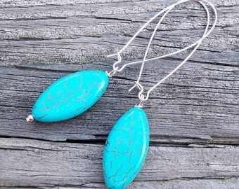 Bethaney - Turquoise Howlite Oval Gemstone Beaded Silver Dangle Kidney Hoop Earrings
