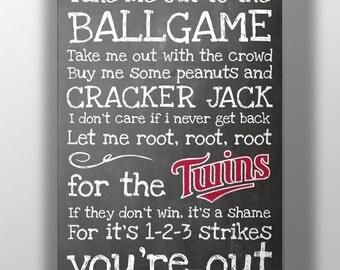 Minnesota Twins- Take Me Out to the Ballgame Chalkboard Print