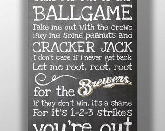 Milwaukee Brewers- Take Me Out to the Ballgame Chalkboard Print